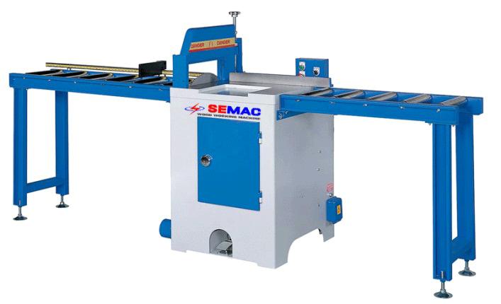 Máy cưa cắt ngang SEMAC SM-18 dùng để cắt khúc, cắt mắt gỗ và các khuyết tật gỗ