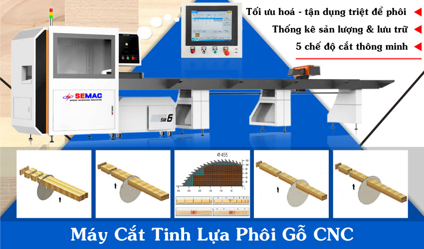 Máy cắt tinh lựa phôi gỗ CNC 5 chế độ