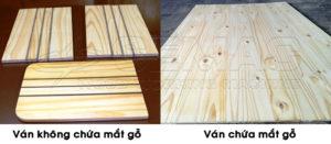 Ván gỗ ghép tấm chứa mắt gỗ và ván ghép không chứa khuyết tật